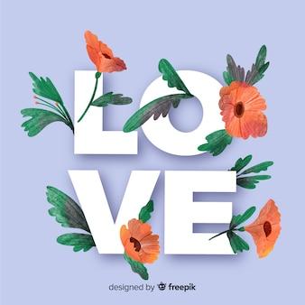 Любовное слово с цветами и листьями