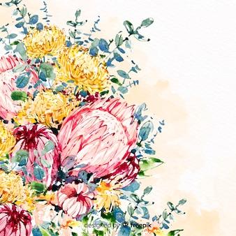 Акварель красивые цветы красочный фон
