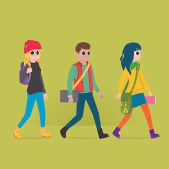 Студенты идут в университет и держат школьные принадлежности