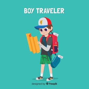 Мальчик собирается в путешествие