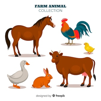 フラットデザイン農場の動物コレクション