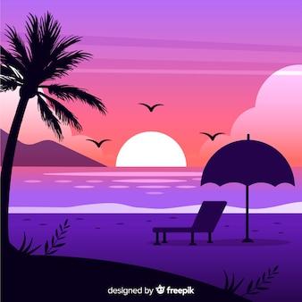 グラデーションビーチの夕日の風景