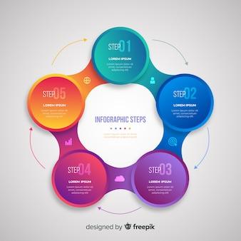 Градиент реалистичный красочный шаг инфографики