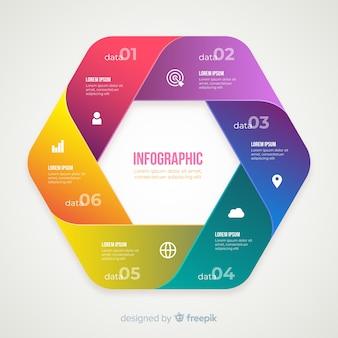 グラデーションのリアルなカラフルなステップインフォグラフィック