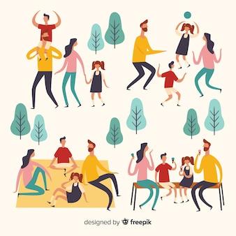 Люди делают активный отдых на свежем воздухе
