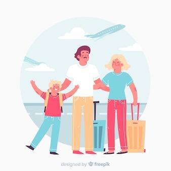 家族旅行に行く