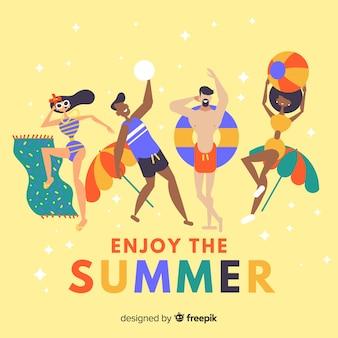 夏を楽しんでいる手描きの人々