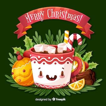 素晴らしいカップと素敵なクリスマスの背景