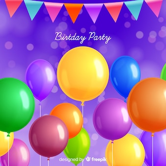 現実的な誕生日パーティーの風船の背景
