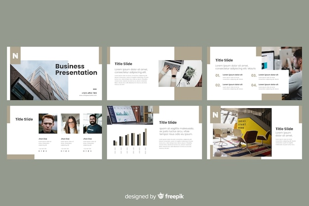 ビジネスプレゼンテーションスライド写真付き