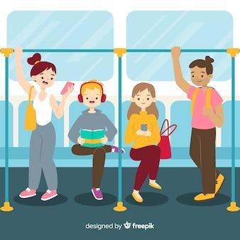 地下鉄で平らな人