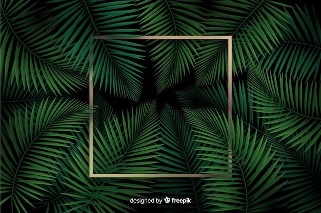 Реалистичные листья с золотой рамкой шаблона
