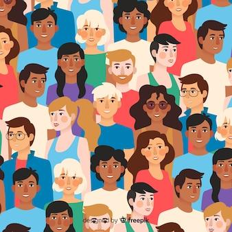 Плоская молодежная картина улыбающихся людей