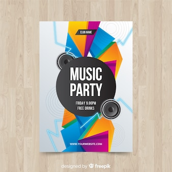 幾何学的図形の音楽パーティーのポスター