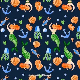 暗い水彩風人魚のパターン
