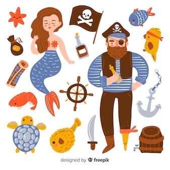手描きの海洋生物キャラクターコレクション