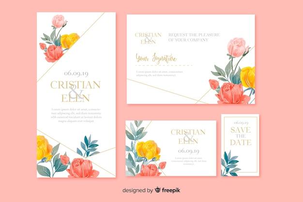 Акварель цветочные свадебные канцтовары шаблон