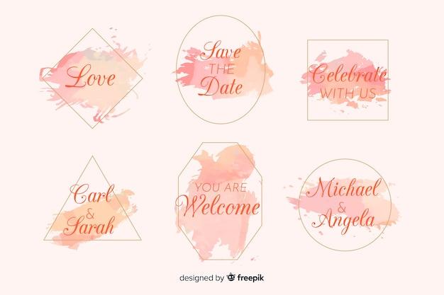 Акварельная коллекция свадебных значков