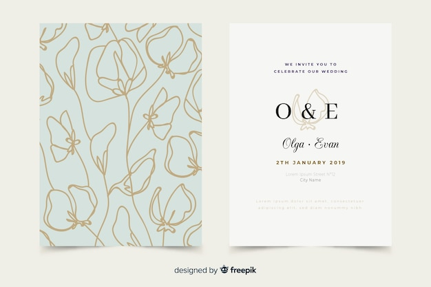手描きのエレガントな結婚式の招待状のテンプレート