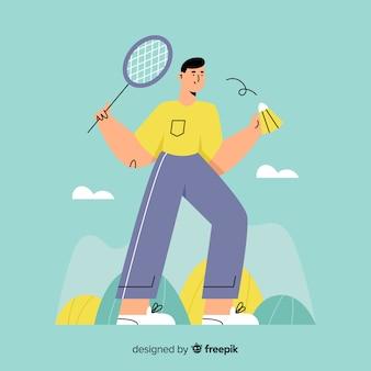 ラケットと手描きのバドミントン選手