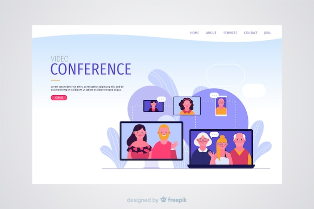 Концепция видеоконференцсвязи для целевой страницы