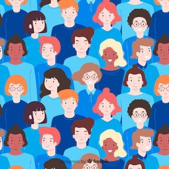 フラット若者の笑顔の人々のパターン