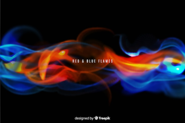 Реалистичный красный и синий языки пламени