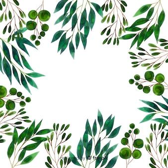 水彩画の植物と葉のフレーム