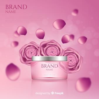 リアルなピンクの化粧品広告ポスター