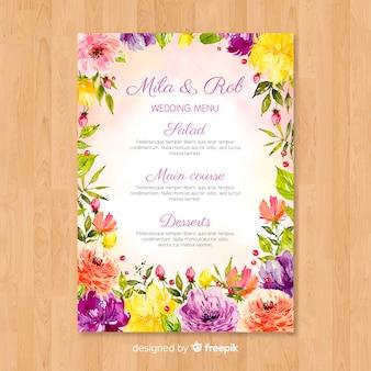 Шаблон меню свадьбы акварель природы