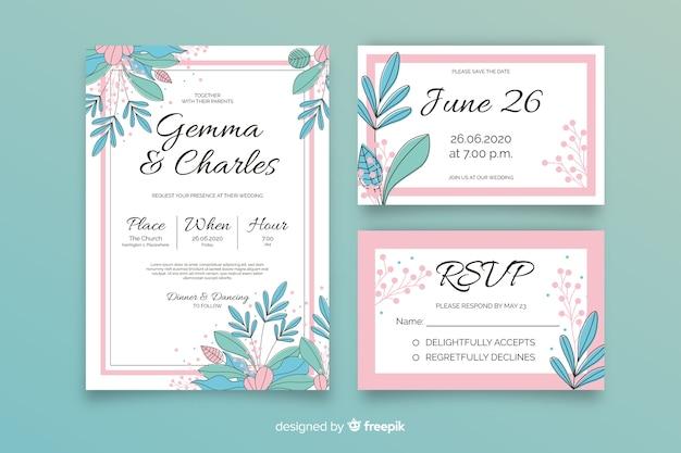 手描きの花の結婚式の文房具の型板