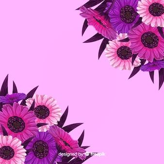 ヒマワリとピンクの花の背景