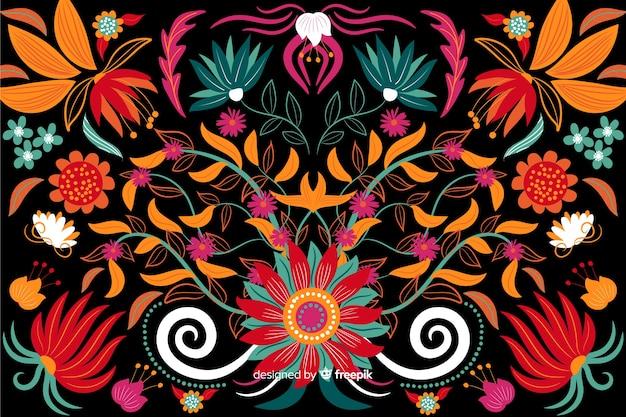 刺繍花の背景フラットデザイン