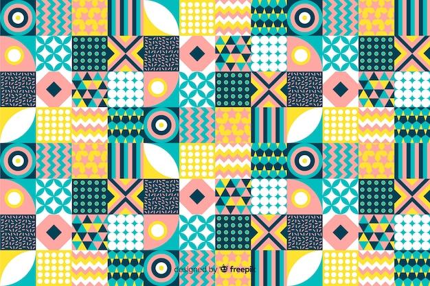 カラフルなビンテージの幾何学的なモザイクの背景