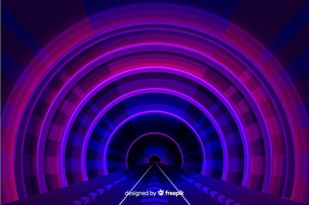 現実的な技術の光のトンネルの背景
