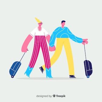 カップル旅行手描きスタイル