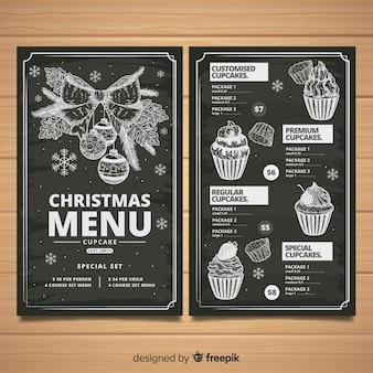 エレガントな手描きのクリスマスメニュー