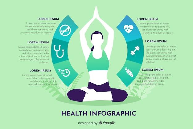 健康インフォグラフィックテンプレートフラットデザイン