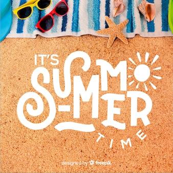 Привет лето, надпись с фото