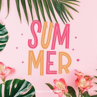 こんにちは夏の写真付きレタリング