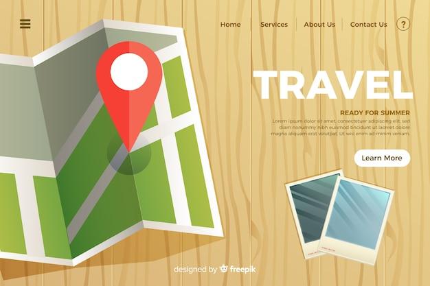 Шаблон целевой страницы плоского путешествия