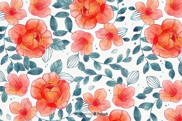 カラフルな水彩風の花の背景