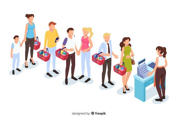 支払うのを待っている列の人々