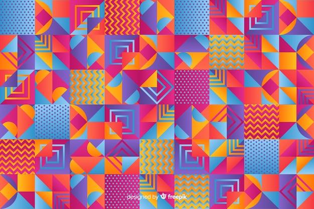 カラフルなグラデーションの幾何学的なモザイクの背景
