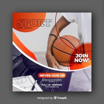 バスケットボール選手バナー付き写真