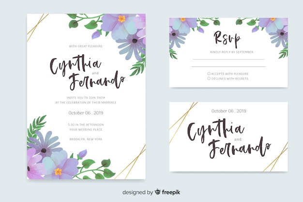水彩花の結婚式のひな形テンプレート