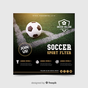 写真とサッカースポーツチラシ