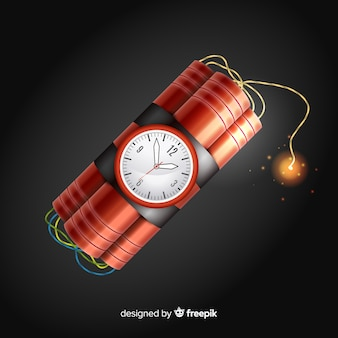 Красная бомба замедленного действия реалистичный дизайн