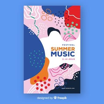 抽象的な手描きの夏の音楽ポスター