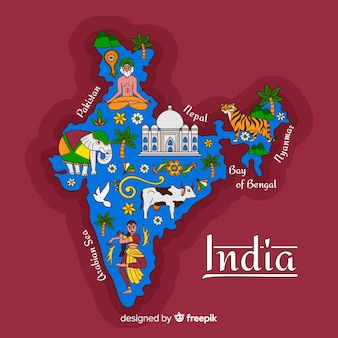 Ручной обращается карта индии